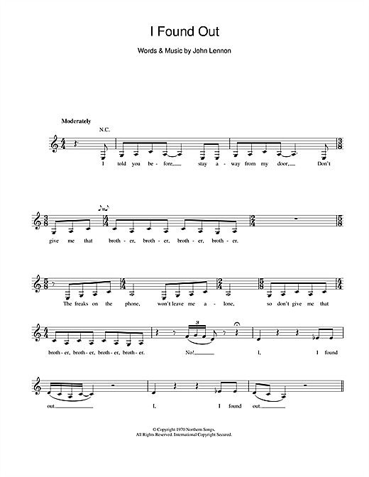I Found Out (Lead Sheet / Fake Book)