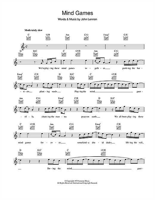 Mind Games Sheet Music