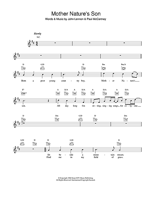 Mother Nature's Son Sheet Music