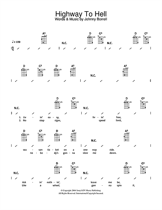 Tablature guitare Highway To Hell de AC/DC - Ukulele (strumming patterns)