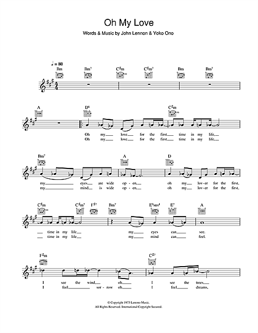 Oh My Love Sheet Music