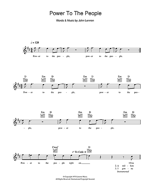 Power To The People Sheet Music
