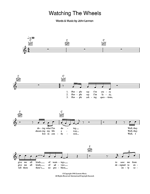 Watching The Wheels (Lead Sheet / Fake Book)