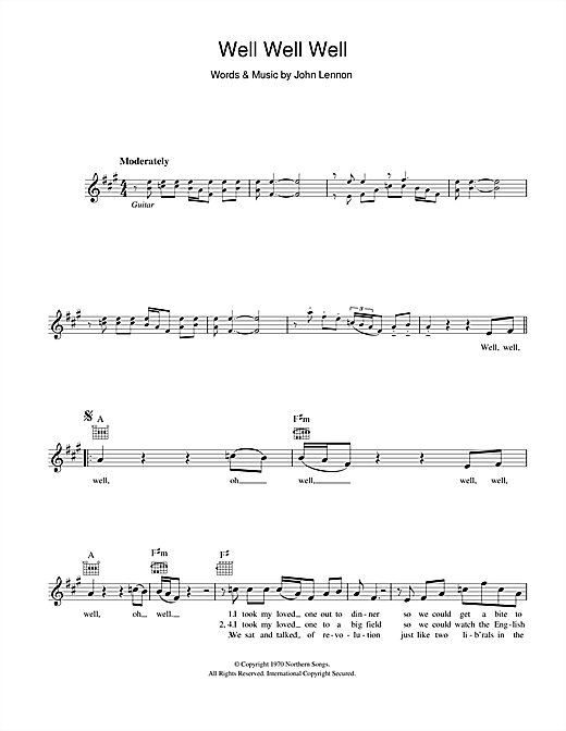 Well, Well, Well (Lead Sheet / Fake Book)