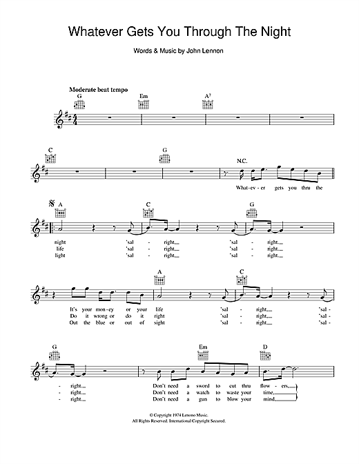 Whatever Gets You Through The Night (Lead Sheet / Fake Book)