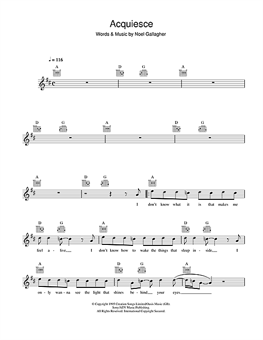 Acquiesce Sheet Music
