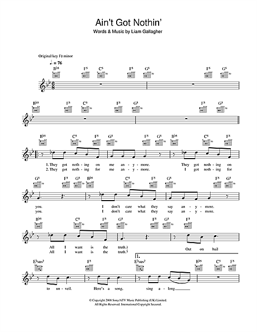 Ain't Got Nothin' (Lead Sheet / Fake Book)