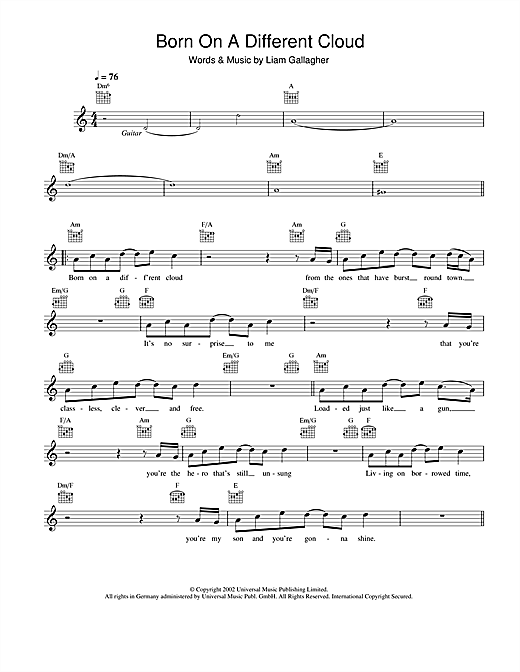 Born On A Different Cloud (Lead Sheet / Fake Book)