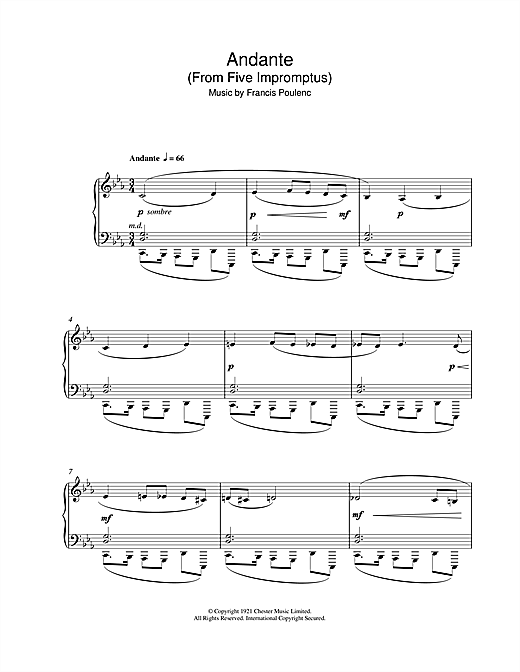 Andante (From Five Impromptus) Sheet Music