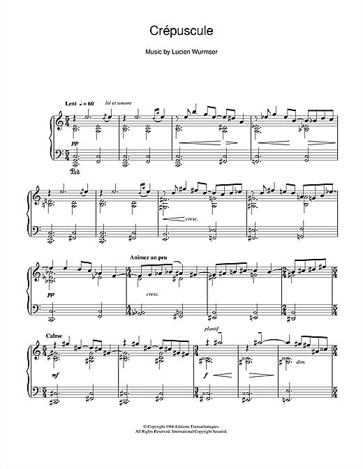 Crépuscule Sheet Music
