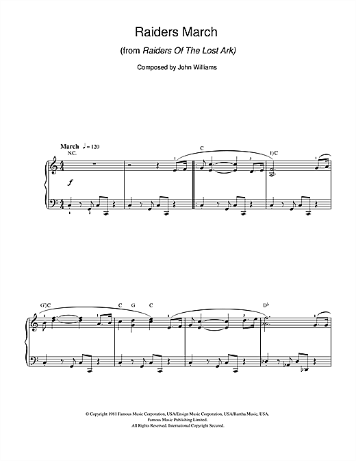 Raiders March (from Raiders Of The Lost Ark) Sheet Music