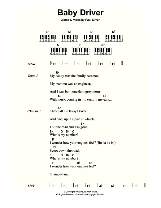 Baby Driver Sheet Music