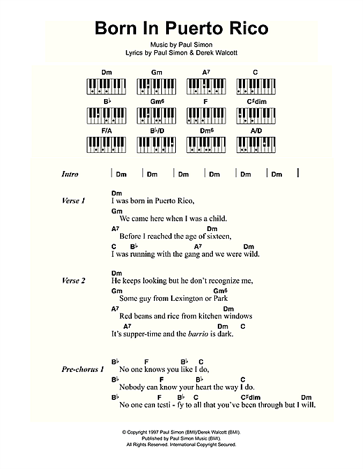 Born In Puerto Rico Sheet Music