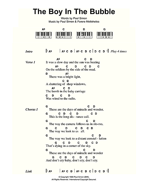 The Boy In The Bubble Sheet Music