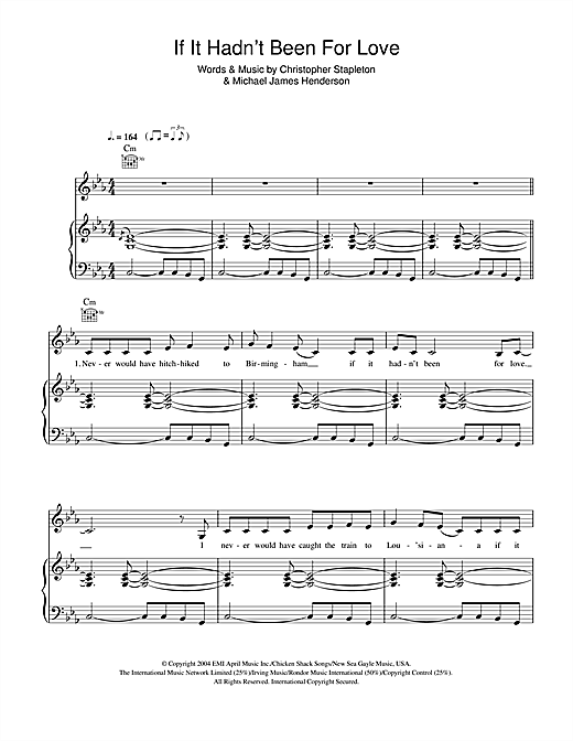 If It Hadn't Been For Love Sheet Music