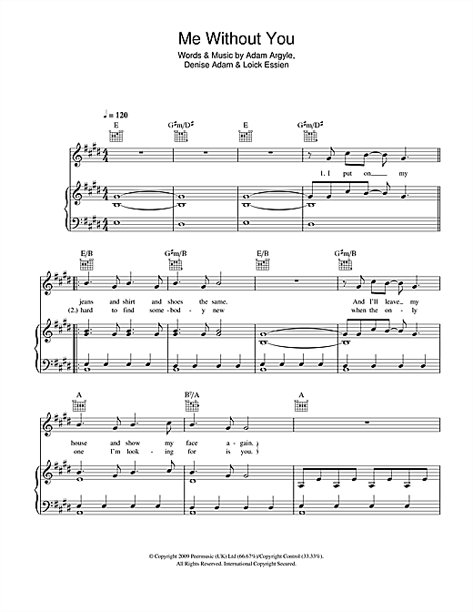 Car With No Wheels (Aka Me Without You) Sheet Music