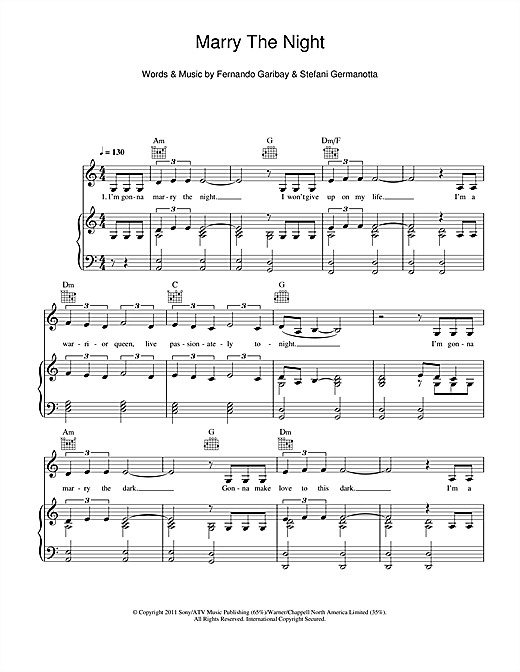 Marry The Night Sheet Music