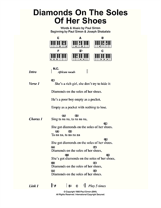 Diamonds On The Soles Of Her Shoes (Piano Chords/Lyrics)