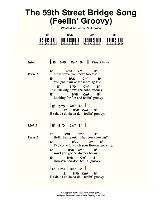 The 59th Street Bridge Song (Feelin' Groovy) Sheet Music