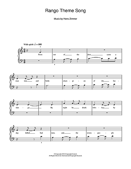 Rango Theme Song Sheet Music