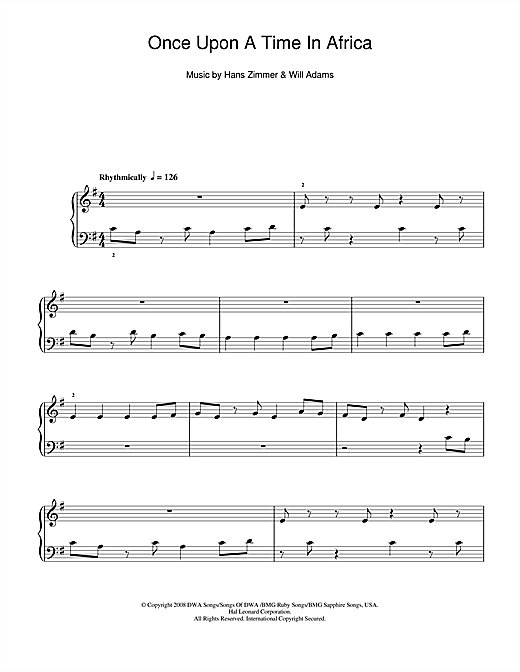 Once Upon A Time In Africa Sheet Music