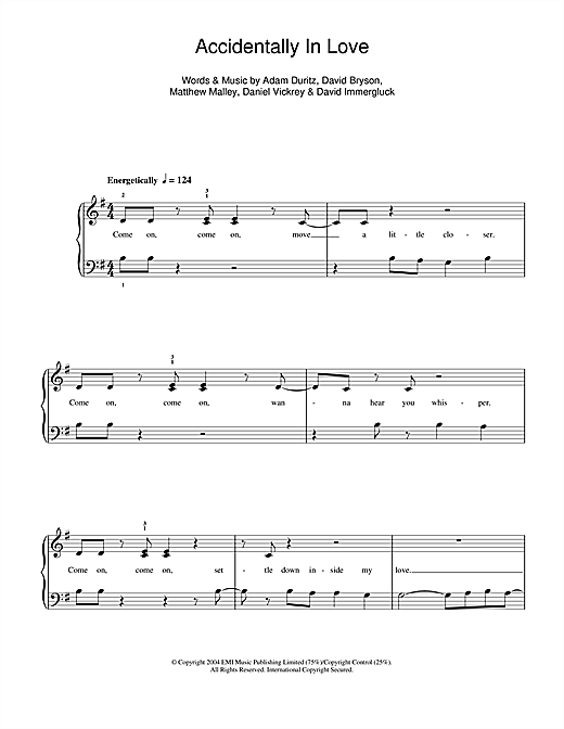 Accidentally In Love Sheet Music