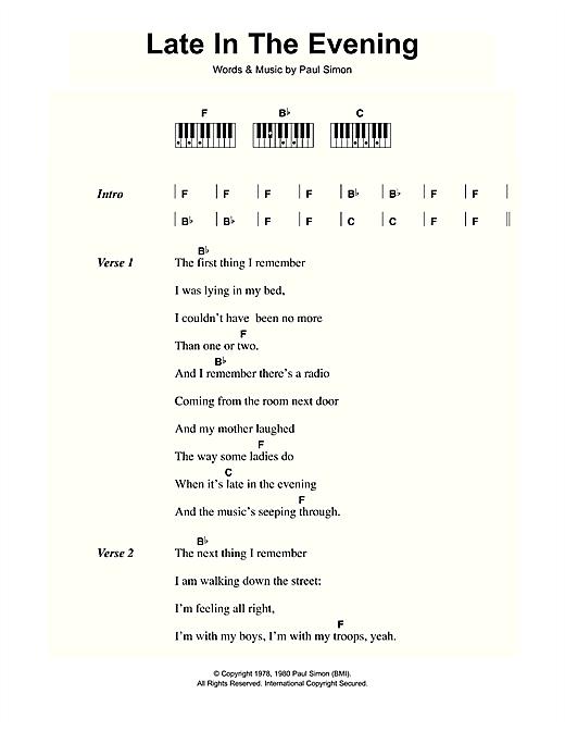 Late In The Evening Sheet Music