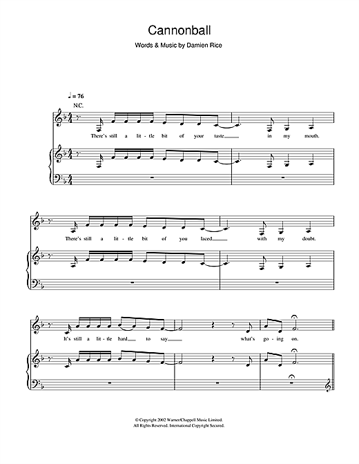Cannonball (Piano, Vocal & Guitar (Right-Hand Melody))