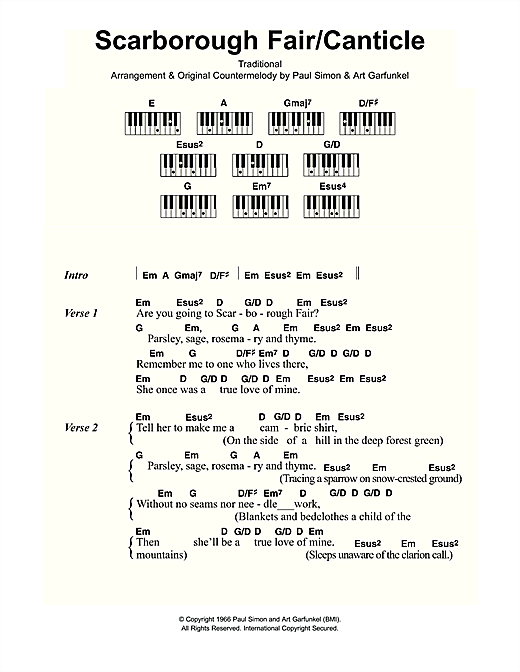 Scarborough Fair/Canticle Sheet Music