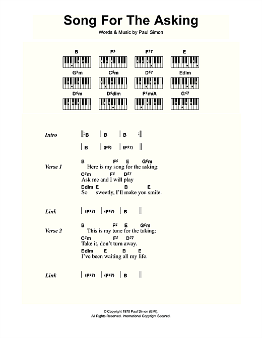 Song For The Asking Sheet Music By Simon Garfunkel Lyrics Piano