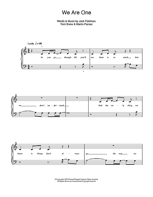 We Are One (from The Lion King II: Simba's Pride) Sheet Music