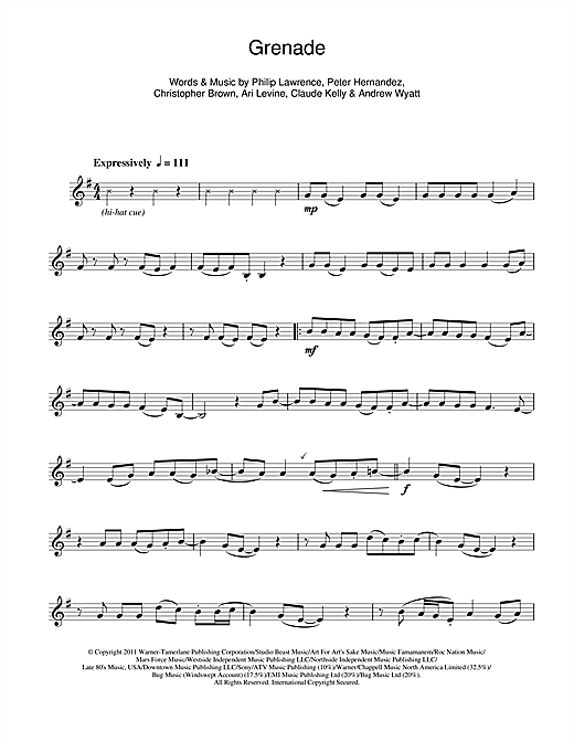 Grenade Sheet Music By Bruno Mars Clarinet 113285