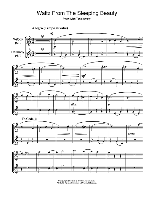 Waltz (from The Sleeping Beauty) Sheet Music