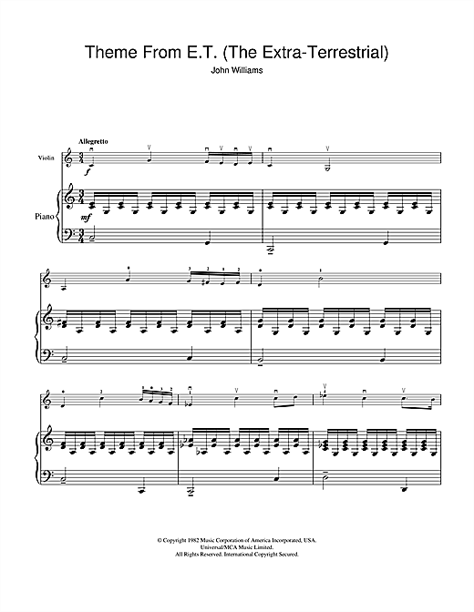 Theme from E.T. - The Extra-Terrestrial Sheet Music