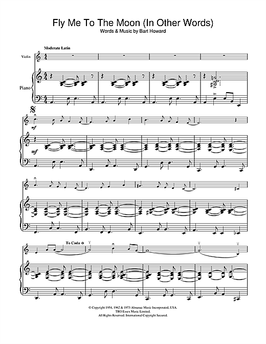 Fly Me To The Moon (In Other Words) (Violin Solo) - Print Sheet Music