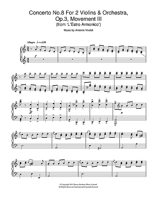Concerto No.8 For 2 Violins & Orchestra, Op.3, Movement III (From 'L'estro Armonico') Sheet Music