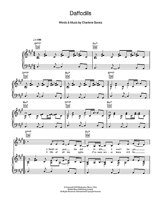 Daffodils Sheet Music