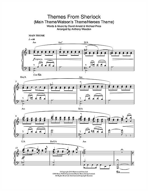 Themes From Sherlock (Main Theme/Watson's Theme/Heroes Theme) Sheet Music
