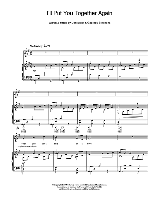 I'll Put You Together Again Sheet Music