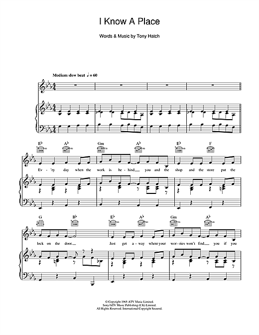 I Know A Place Sheet Music