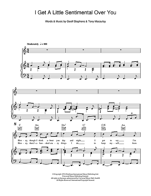 I Get A Little Sentimental Over You Sheet Music