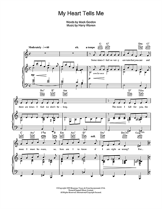 My Heart Tells Me Sheet Music