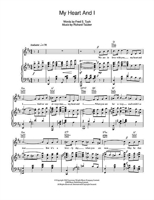 My Heart And I Sheet Music