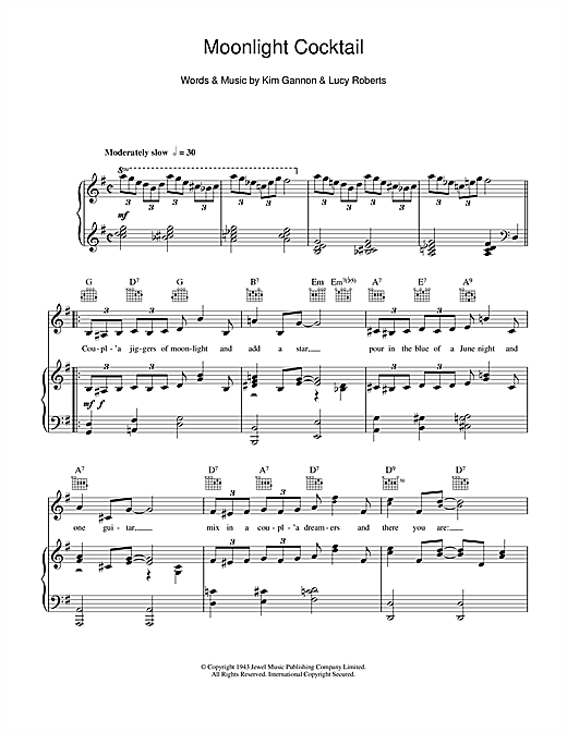 Moonlight Cocktail Sheet Music