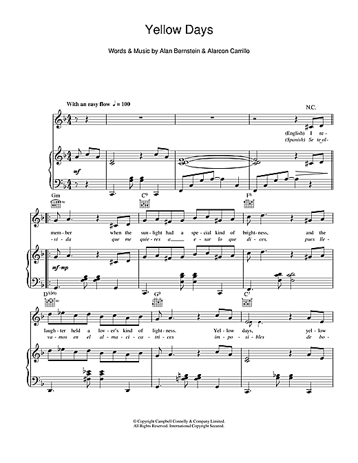 Yellow Days Sheet Music