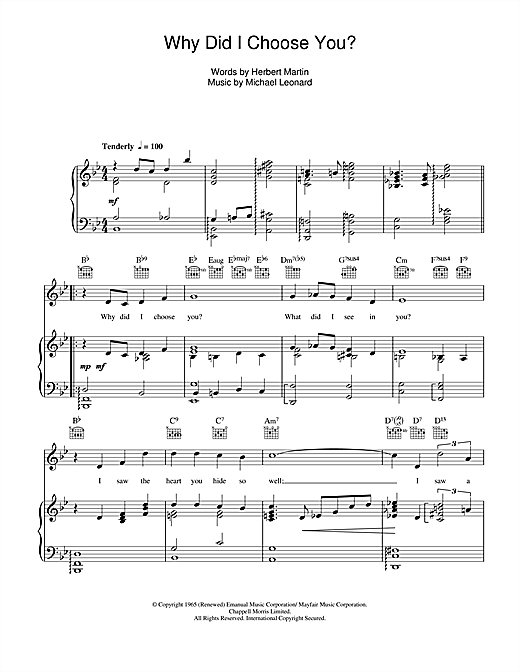 Why Did I Choose You? Sheet Music