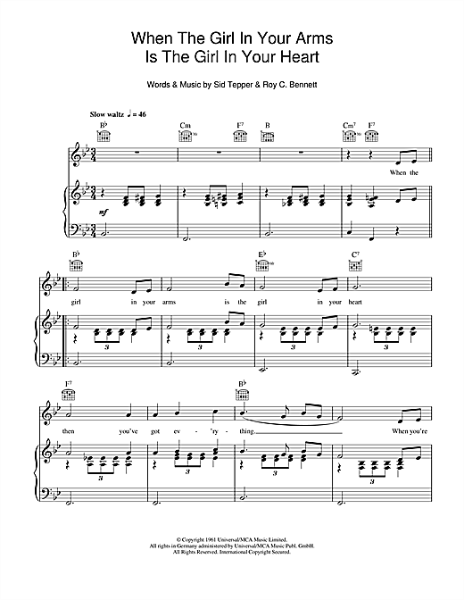 When The Girl In Your Arms Is The Girl In Your Heart Sheet Music