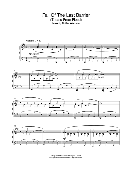 Fall Of The Last Barrier (Theme From Flood) Sheet Music