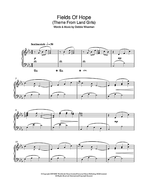 Fields Of Hope (Theme From Land Girls) Sheet Music