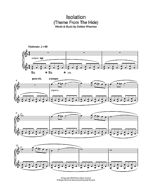 Isolation (Theme From The Hide) Sheet Music